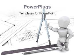 powerpoint template 3d man stands on architectural drawing with