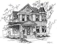 hand drawn custom home portrait in ink 8