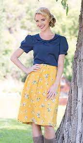 mustard dreamy floral skirt modest dresses and clothing for