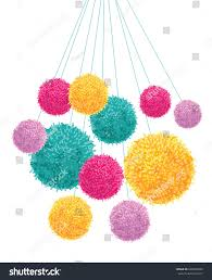 Handmade Nursery Decor by Vector Colorful Pom Poms Bunch Hanging Stock Vector 640698838