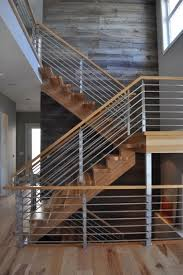 Banister Stair Best Hickory With Horizontal Stainless 2 Contemporary Staircase