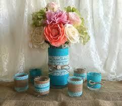 Tiffany Blue Wedding Centerpiece Ideas by Country Wedding Centerpieces Candles And Vase Country Chic