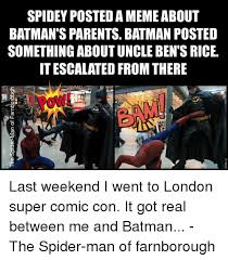 Spiderman Rice Meme - spidey posted a meme about batman s parents batman posted something