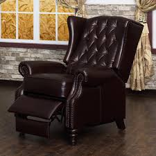 furniture cozy gray wingback recliner with oak wood frame and