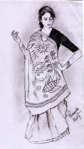 sketch of a woman in bengali saree desipainters com