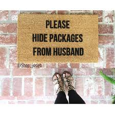 funny doormat the original please hide packages from husband doormat