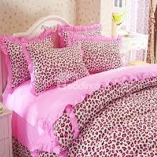 cute pink leopard print 4 piece bedding sets duvet cover sets