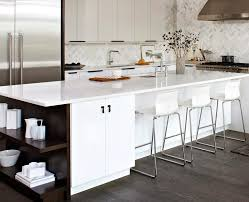 long high gloss white ikea kitchen island with cool seating set on