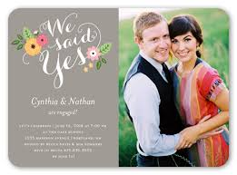 wedding invitations shutterfly we said yes 5x7 invitation card engagement invitations shutterfly