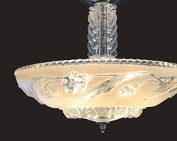 Hobnail Milk Glass Chandelier Clear Hobnail Bubble Frosted Pressed Glass Shade Vintage Art
