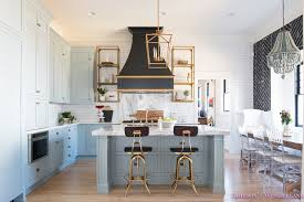 Shaker Style Interior Design by Kitchen White Marble Calcutta Gold Open Shelves Gold Black Vent