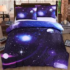Space Bed Set 4 3pcs Bedding Set Universe Outer Space Blue Galaxy Bed Linen