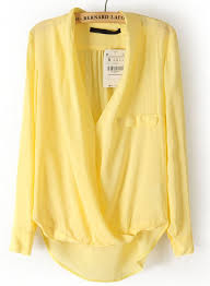 yellow blouse yellow sleeve front cross dipped hem blouse fall wardrobe