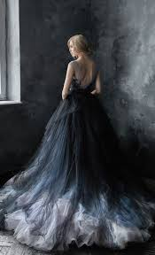 Black Wedding Dress Unique Black Blue And Silver Grey Tulle Ballgown Wedding Dress