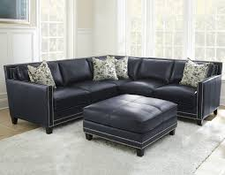 Navy Leather Sofa by Deep Navy Top Grain Leather Sofa Silver Hendrix Sectional Coast