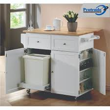 Drop Leaf Kitchen Cart by Drop Leaf Kitchen Cart 900558 Brown White Protrade International