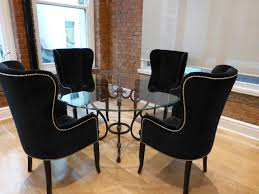 Fancy Modern Upholstered Dining Room Chairs Round Glass Top Iron - Cushioned dining room chairs