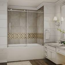 Glass Bathtub Enclosures Stainless Steel Shower Doors Showers The Home Depot