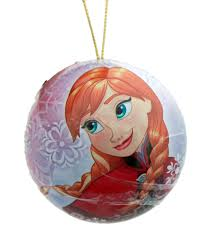 disney pink anna tin christmas tree decoration with cookie