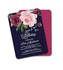 Burgundy Flowers Dark Floral Bridal Shower Invitation Navy Blue Blush And Burgundy