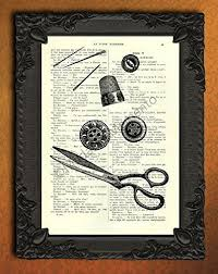Sewing Room Decor Amazon Com Sewing Tools Dictionary Art Scissors Buttons Needles