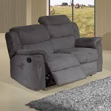 canapé relax 2 places tissu salon gris clair et anthracite