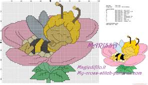 free cross stitch pattern maya honey bee sleeping flower