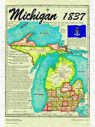 Map Of The State Of Michigan by Statehood Maps