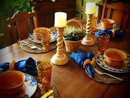 in the middle of nowhere terracotta and blue tablescape