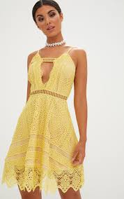 lace dresses yellow crochet lace plunge strappy skater dress dresses