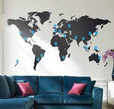 vinyl wall stickers living room with velvet blue sofa and world map vinyl wall sticker