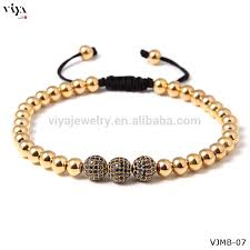 gold bracelet with black diamonds images Triple black diamonds rose gold plated silver balls macrame jpg