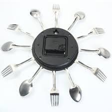 online shop 2016 modern sliver cutlery kitchen wall clock spoon