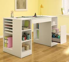 minimalist rectangle white wooden craft desk storage square craft