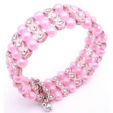 pink pearls bracelet images Pink pearls w pink designed cuff bracelet bangle stretchable bracelet jpg