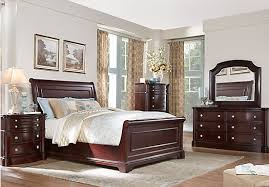 Dumont Cherry  Pc Queen Sleigh Bedroom Bedroom Sets Dark Wood - Dark wood queen bedroom sets