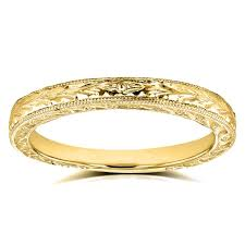 14k gold wedding band annello by kobelli 14k yellow gold antique engravings womens