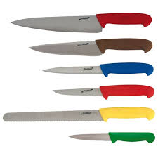 coloured kitchen knives 6 colour coded knife set knife wallet jc catering bar