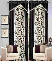 Curtains Floral Molsan Home Decor Set Of 2 Window Eyelet Curtains Floral Brown