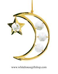 ornament gold crescent moon ornament swarovskiâ crystals