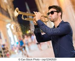 stock photo of holding trumpet outdoor csp12342520