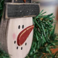 primitive wooden snowman ornament ornaments