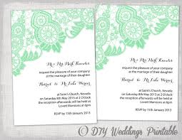 mint wedding invitations diy wedding invitation template editable mint green