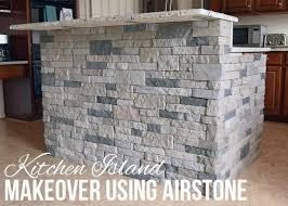 stone kitchen islands using airstone for a faux stone kitchen island makeover