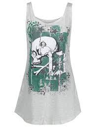t shirts light gray 5xl skull halloween plus size racerback tank