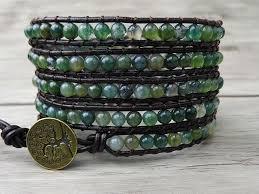 beaded wrap bracelet images 2018 leather wrap bracelet ocean grass agate natural stone beaded jpg