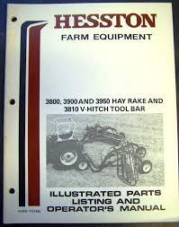 hesston model 3800 3900 3950 hay rake and 3810 tool bar operators