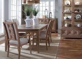 white oak dining table with nail heads in medium oak finish