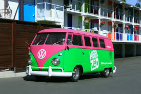 green volkswagen van the buses