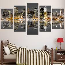 online shop 5 piece canvas art wall art city building inverted